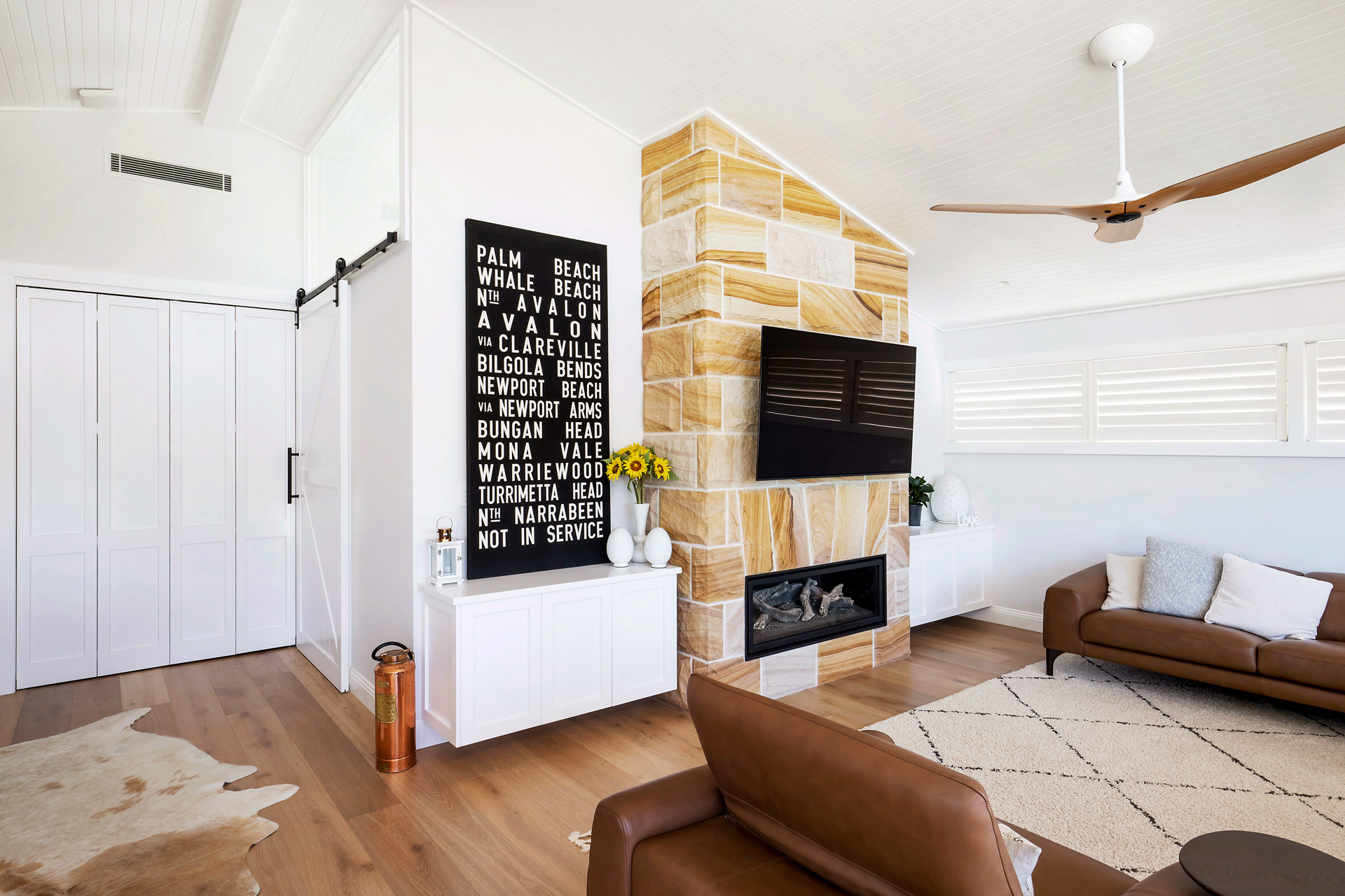 Live By The Sea interior photography Sydney white stone living room Warriewood
